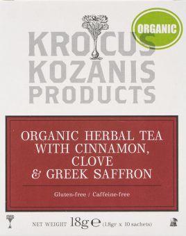 Krocus Kozanis Products :  OrganicHerbal Tea with Cinnamon, Clove &Greek Saffron, 18g,  10 sachets tea bag  (Gluten-free, Caffeine-free)