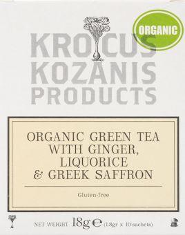 Krocus Kozanis Products : Organic Green Tea withGinger, Liquorice &Greek Saffron, 18g 10 sachets tea bag  (Gluten-free)