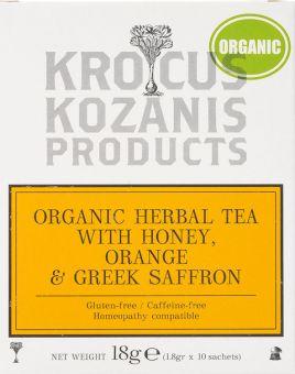 Krocus Kozanis Products : Herbal Tea withHoney, Orange &Greek Saffron, 18g  10 sachets tea bag   (Gluten-free, Caffeine-free)