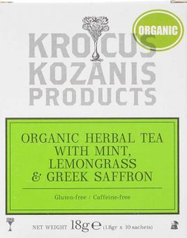 Krocus Kozanis Products : Organic Herbal Tea with Mint, Lemongrass & Saffron, 18g 10 sachets tea bag  (Gluten-free, Caffeine-free)