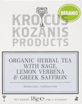 Krocus Kozanis Products: Organic Herbal Tea with Sage, Lemon Verbena &Greek Saffron, 18g 10 sachets tea bag  (Gluten-free, Caffeine-free)