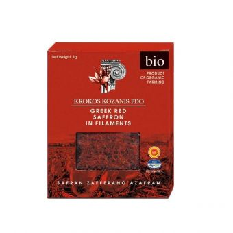 Krokos Kozanis PDO Organic Greek Red Saffron in Filament, 1g