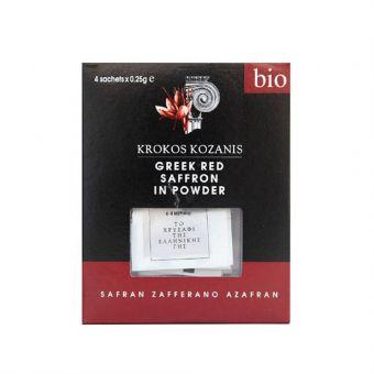 Krokos Kozanis PDO Organic Greek Red Saffron In Powder, 1g, 4 sachets x 0.25g